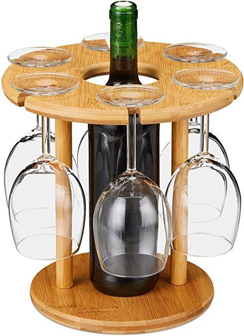 Relaxdays Stojak na kieliszki do wina, bambus, na 6 kieliszków, okrągły Ø 25 cm, prezent na wino, bar, butler na wino z uchwytem na butelkę wina, naturalny