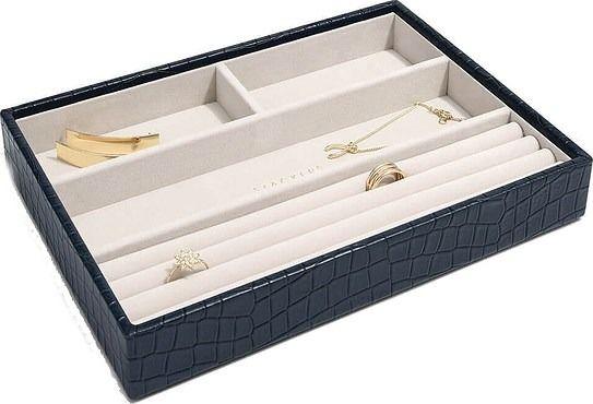 Pudełko na biżuterię 4 komorowe classic stackers croc granatowe
