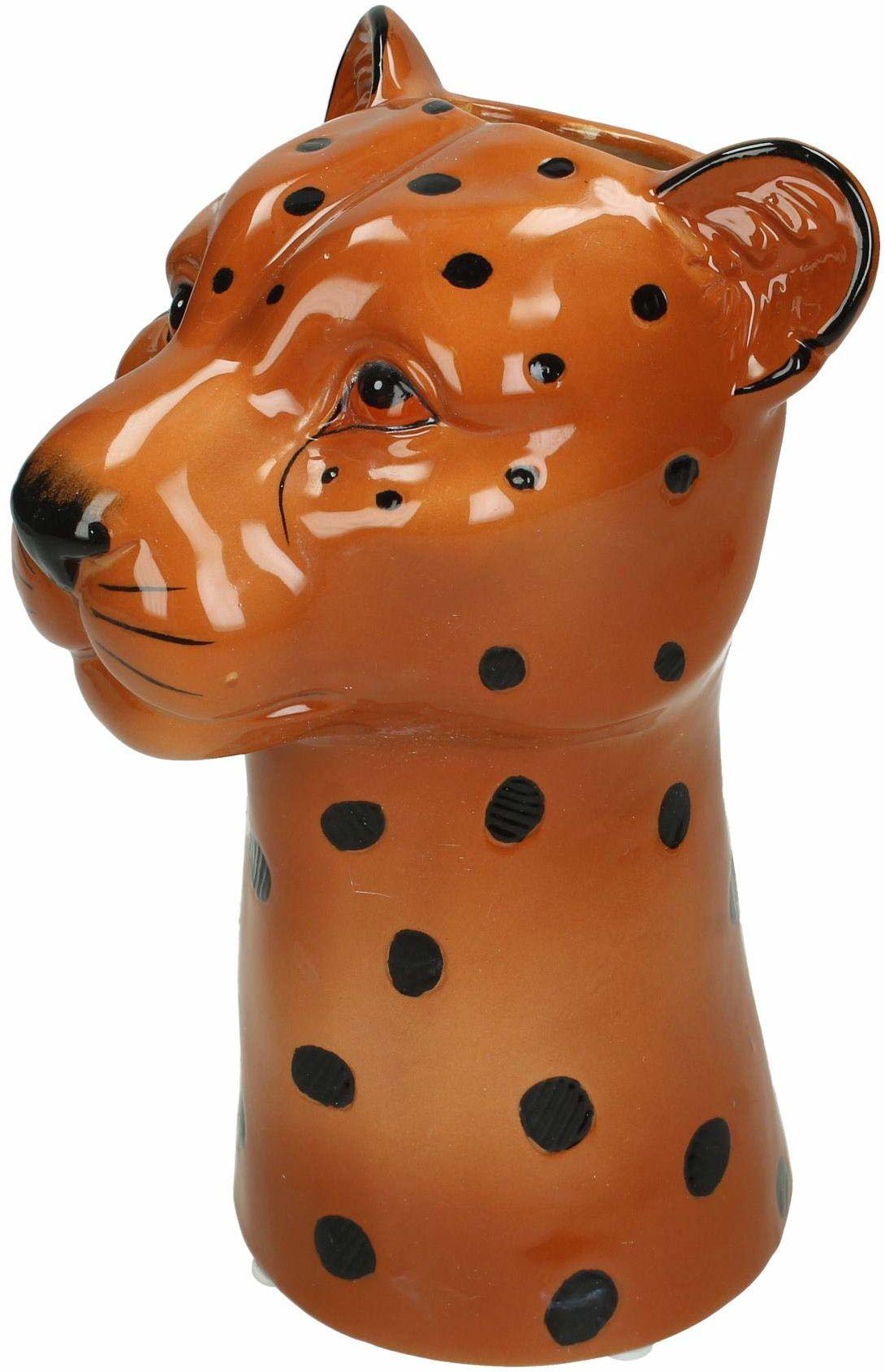 Wazon Leopard  drobna kamionka  brązowy  13,5 x 14,5 x 22 cm
