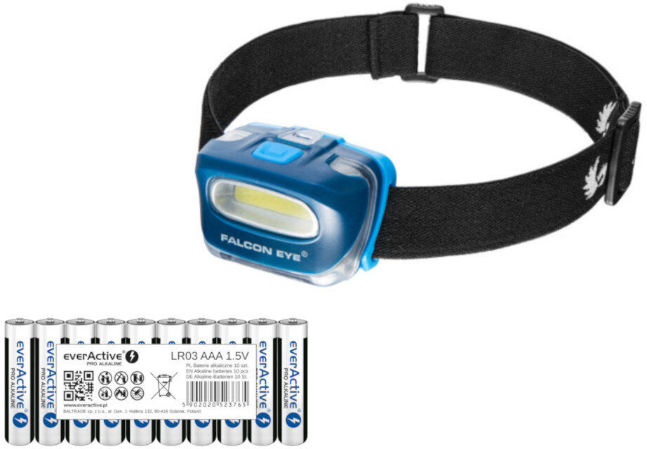Latarka czołowa Falcon Eye Blaze FHL0021 + 10x baterie alkaliczne everActive Pro Alkaline LR03 AAA