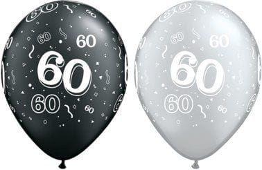 """Balon QL 11"""" na 60 urodziny, czarne i srebrne 60, mix"""
