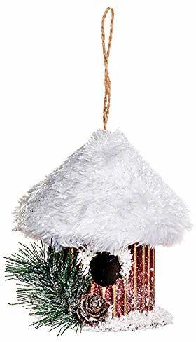 EUROCINSA Ref.28509 domek dla ptaków zawieszka z kartonu złota z dachem pokrytym śniegiem 11 Ø x 13 cm 6 sztuk, czerwony/biały, rozmiar uniwersalny
