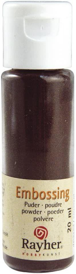 RAYHER 28000552, puder do embossingu, butelka 20 ml, kryjący, ciemnobrązowy