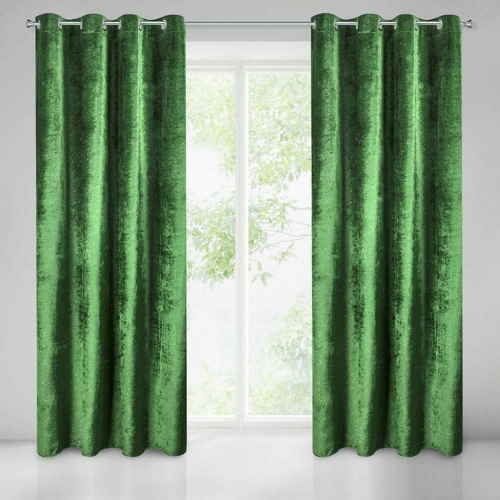 Zasłona gotowa na przelotkach 140x250 Elizia zielona ciemna welwetowa zdobiona brokatem Eurofirany.