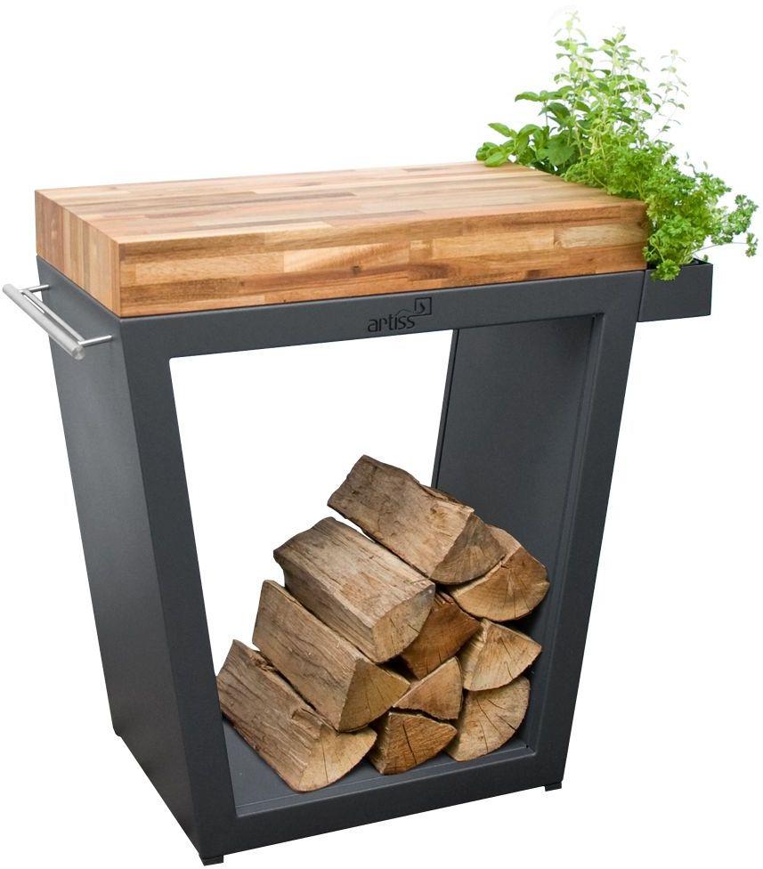 Stolik Artiss trapez duży 80x45x91cm grafit - blat drewniany