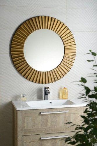 Lustro łazienkowe śr. 90 cm rama brąz drewno