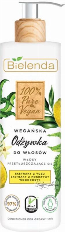 Bielenda - 100% Pure Vegan - CONDITIONER FOR GREASY HAIR - Wegańska odżywka do włosów przetłuszczających się - 240 ml