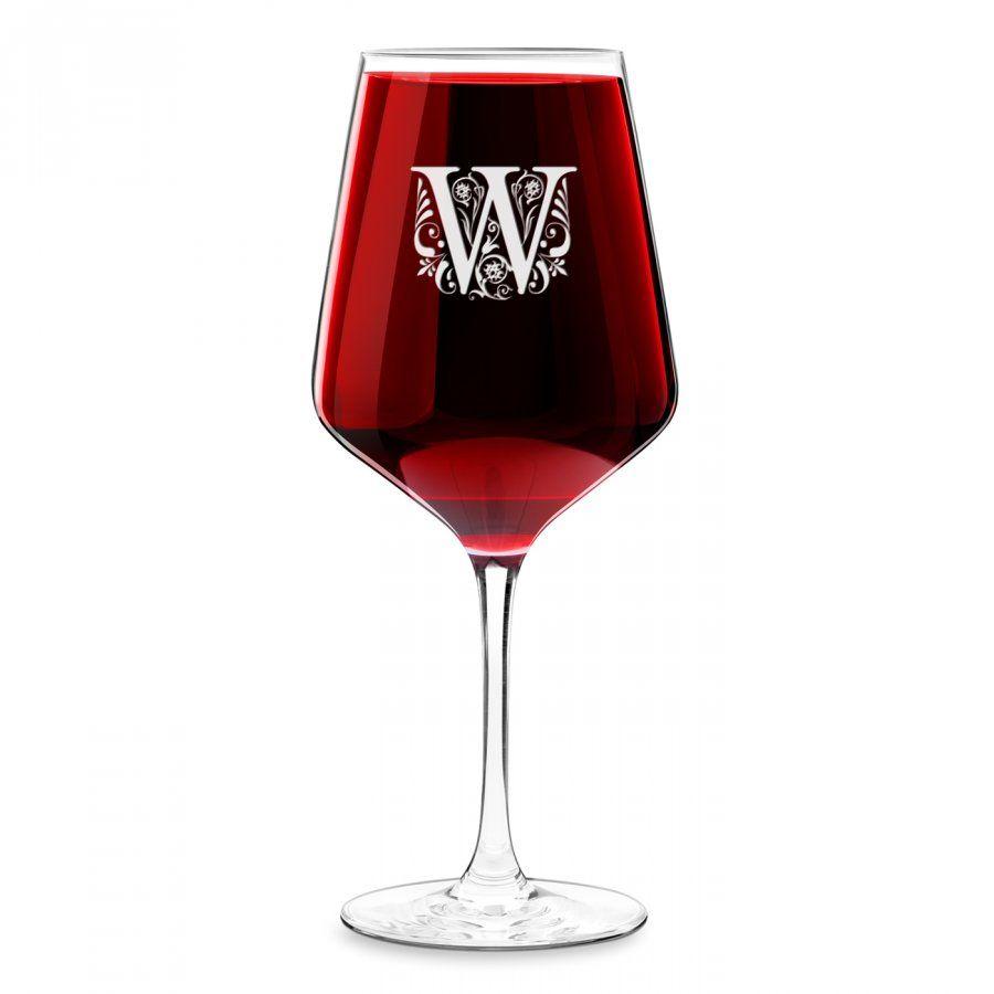 Kieliszek grawerowany do wina rubin rozmiar XL z inicjałem dla