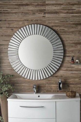 Lustro łazienkowe śr. 90 cm rama srebrna drewno
