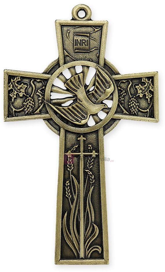Pamiątka Bierzmowania - Krzyż w kolorze starego złota A.D. 2020 - 12cm