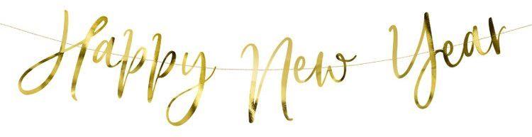 Złoty baner na Nowy Rok - Happy New Year 66cm 1szt. GRL88-019M