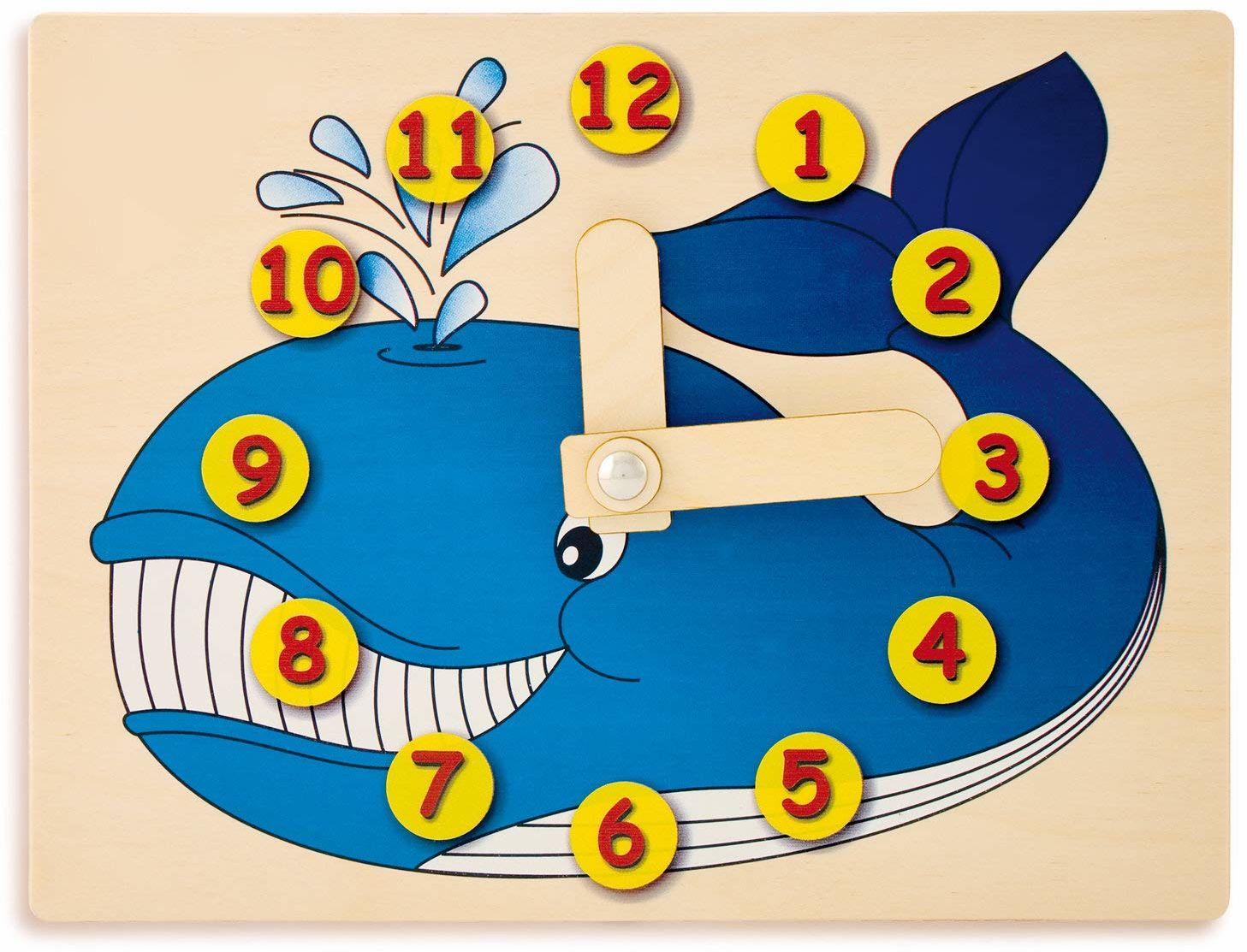 Dida - Zegarek do nauki dla dzieci - wieloryb - bawiący się zegarek, zegar do nauki dzieci z drewna do przedszkola, szkoły i domu
