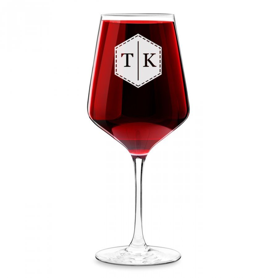 Kieliszek grawerowany do wina rubin rozmiar XL z inicjałami dla