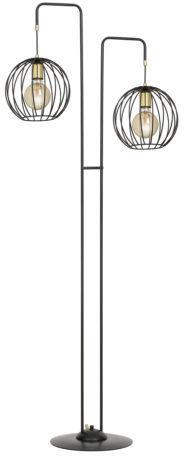 Emibig ALBIO LP2 BLACK 144/LP2 lampa podłogowa metalowa złoto czarna klosz kula loftowa 2x60W E27 155cm
