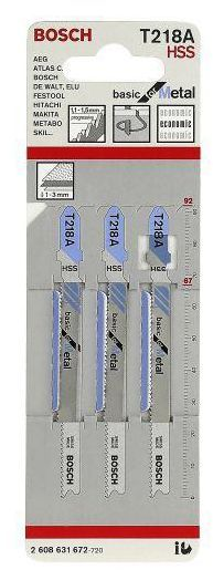 Brzeszczot do wyrzynarki 1 - 3 mm BASIC FOR METAL T218A 3 szt. BOSCH