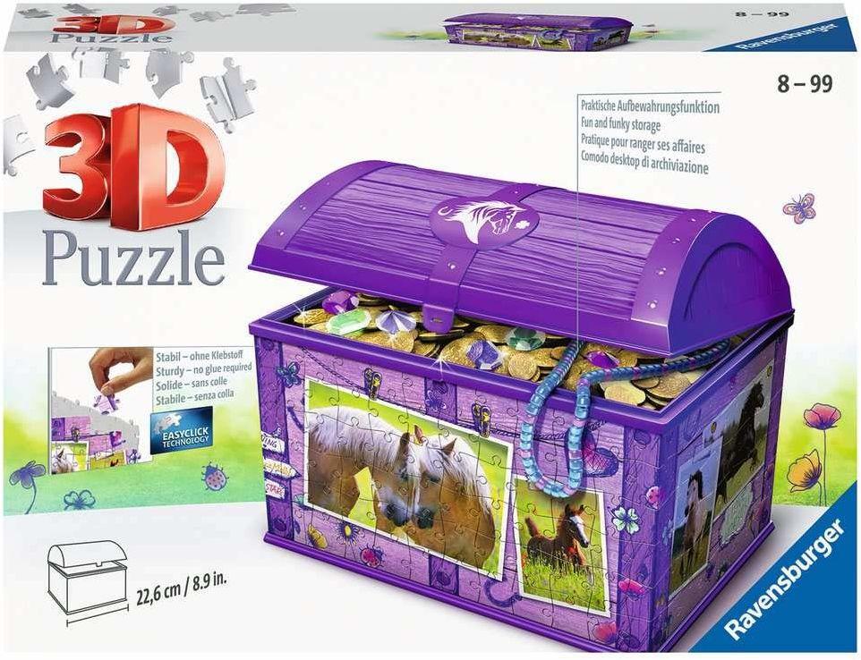 Ravensburger Puzzle 3D 11173 Ravensburger Szkatułka Z Koniami 216 Elementów Puzzle 3D (11173) Dla Dzieci I Dorosłych. Technologia Easy Click - Każdy Element Pasuje Idealnie