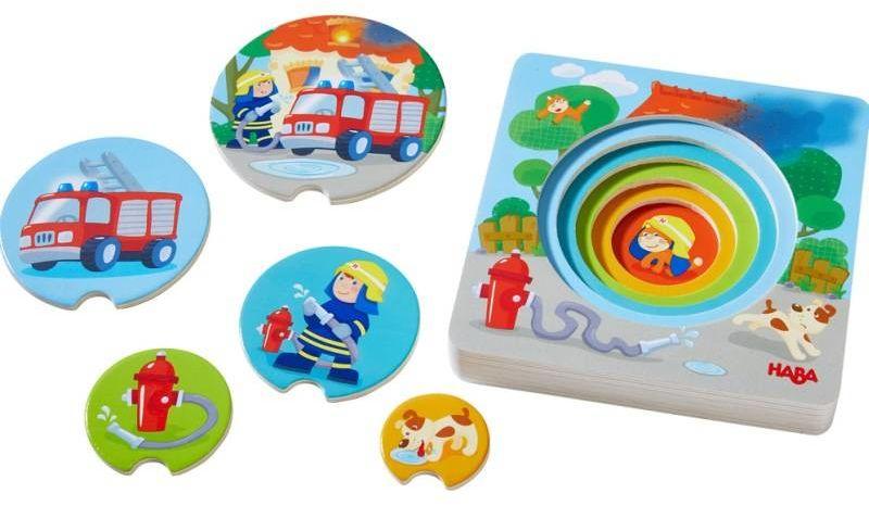 Drewniane puzzle warstwowe Straż pożarna krótkie historie 303252-Haba, układanki dla dzieci
