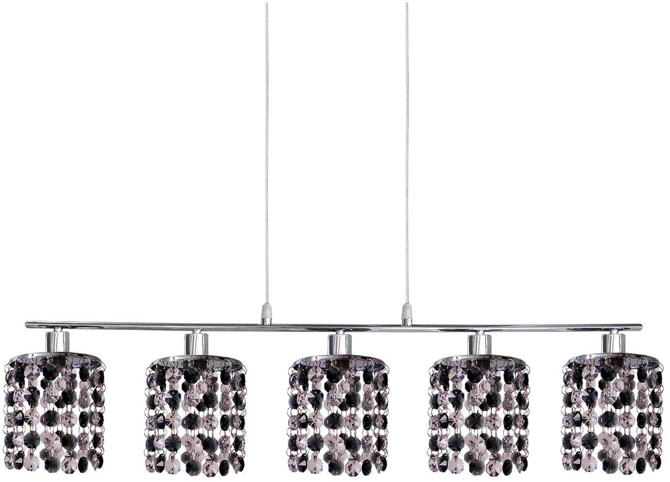 Candellux ROYAL 35-35724 lampa wisząca chrom kryształki czarne 5X40W G9 80cm