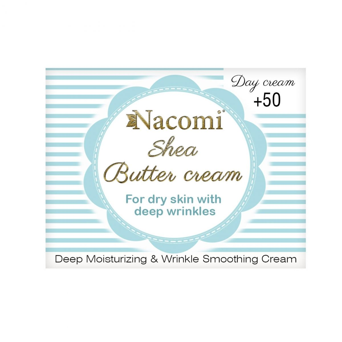Przeciwzmarszczkowy krem do twarzy z masłem Shea i kwasem hialuronowym na dzień 50+ - 50ml - Nacomi