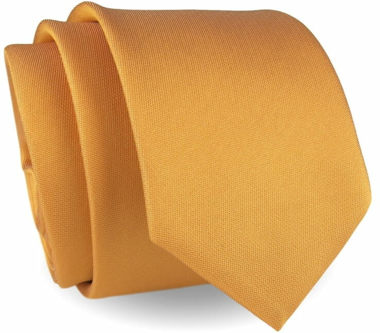 Krawat Męski Elegancki Modny Śledź wąski gładki jasny pomarańczowy G623