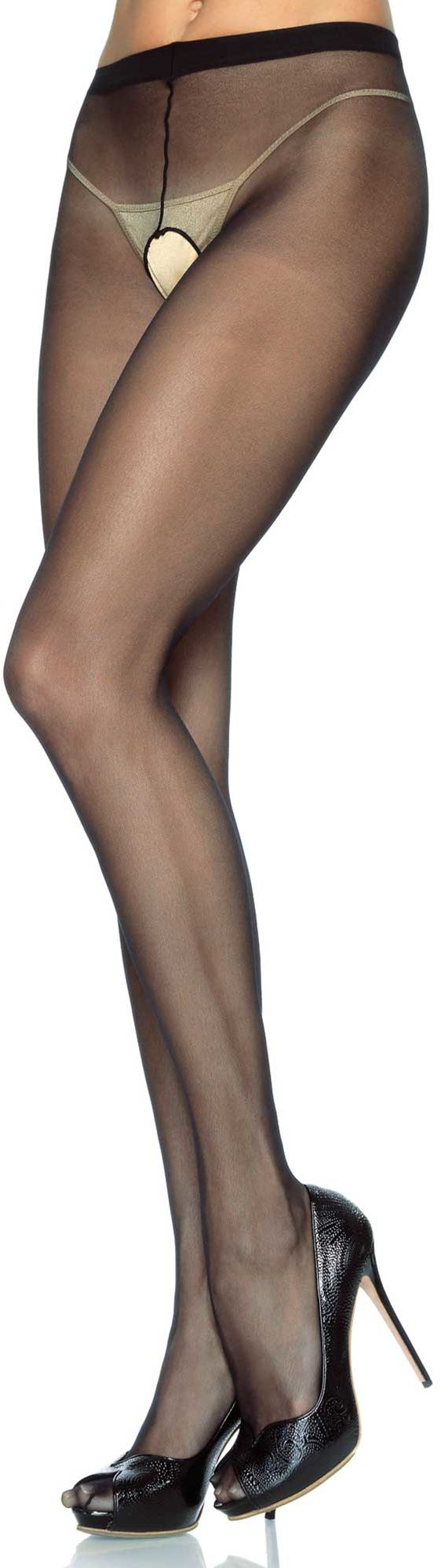 Leg Avenue Sheer Crotchless Pantyhose 1905 Black