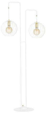 Emibig ALBIO LP2 WHITE 145/LP2 lampa podłogowa loftowa metalowa złoto biała druciak 2x60cm E27 155cm