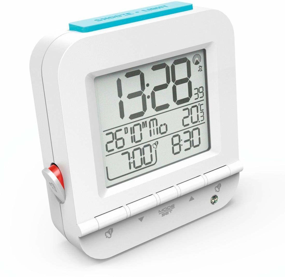 """Hama Budzik radiowy """"Dual Alarm"""" (dwa czasy budzenia, rosnący dźwięk, białe podświetlenie, drzemka, temperatura, data, zasilanie bateryjne) budzik cyfrowy zegar radiowy, biały"""