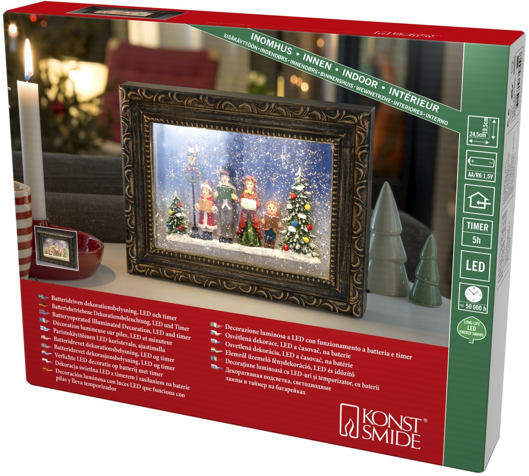 Konstsmide, 4357-000, ramka na zdjęcia LED z latarnią bożonarodzeniową, wypełniona wodą, timer 5 h, 2 diody o ciepłej białej barwie, na baterie, do użytku wewnątrz