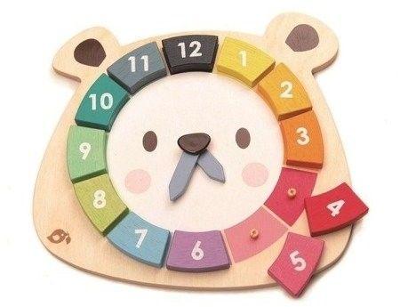 Tender Leaf Toys - Drewniana zabawka edukacyjna - Kolorowy zegar Miś