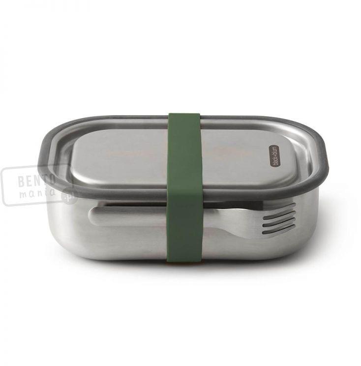Szczelny, stalowy lunchbox - Black Blum Box Apetit - zielona gumka spinająca