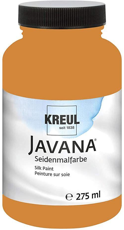 Kreul 8156-275 - Javana farba do malowania jedwabiu 275 ml, koniakowa, wysoko pigmentowana i olśniewająca farba na bazie wody, o płynnym charakterze, wnika głęboko w włókna