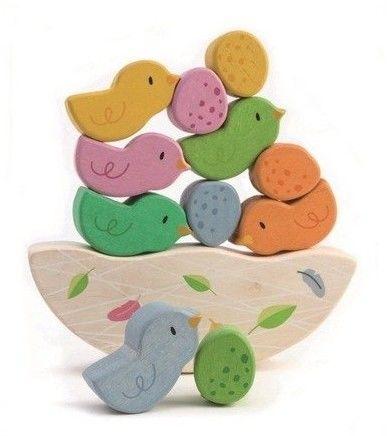 Tender Leaf Toys - Drewniana Gra zręcznościowa Balansujące Małe Ptaszki