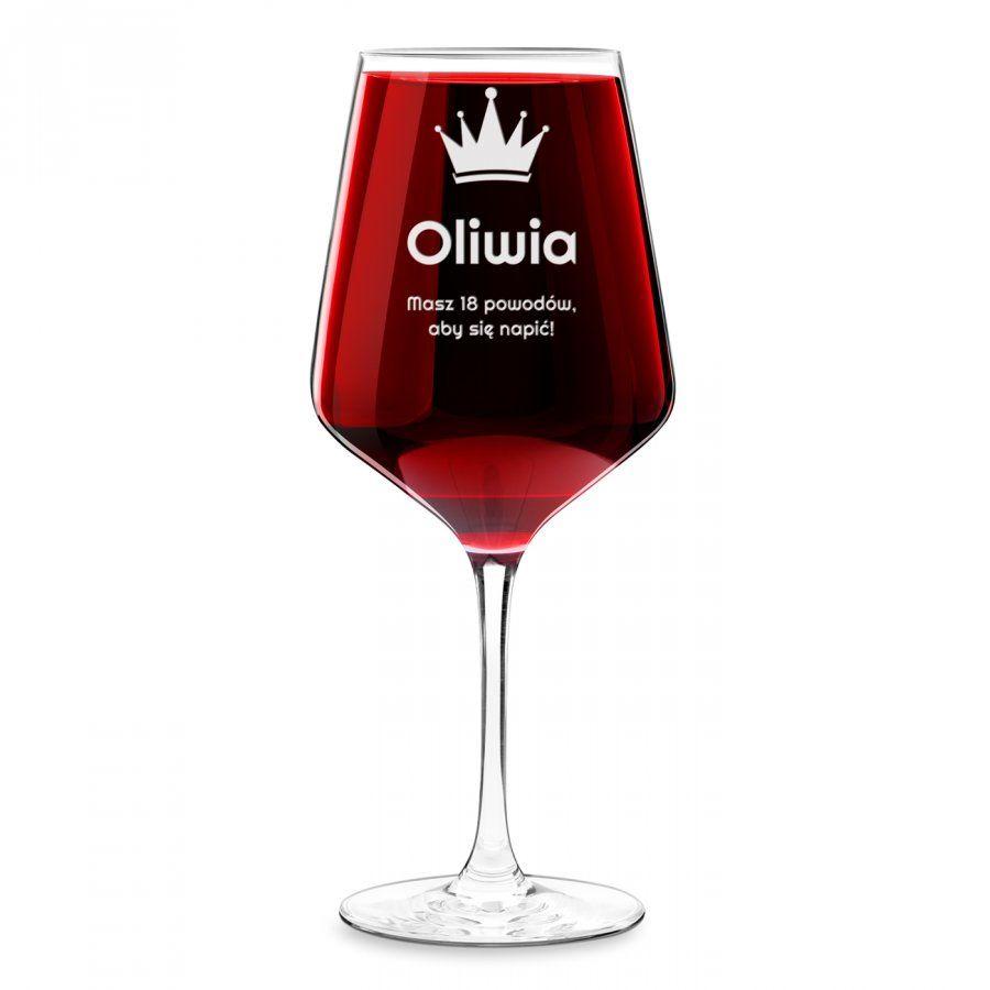 Kieliszek grawerowany do wina rubin rozmiar XL dla niej na imieniny
