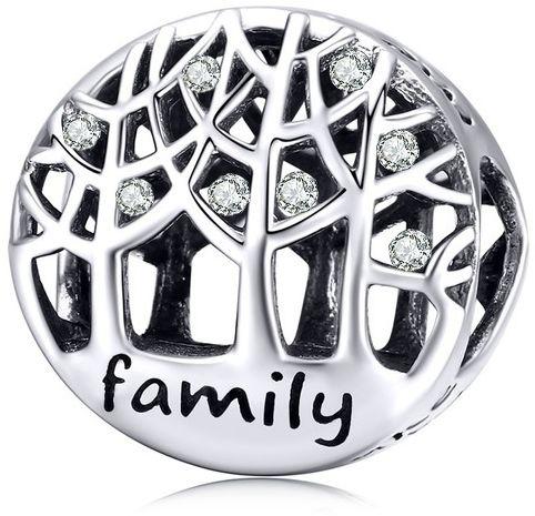 Rodowany srebrny charms do pandora szczęśliwa kochająca się rodzina happy family cyrkonie srebro 925 NEW124