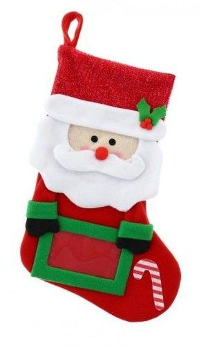 Skarpeta bożonarodzeniowa z ramką na zdjęcie Mikołaj
