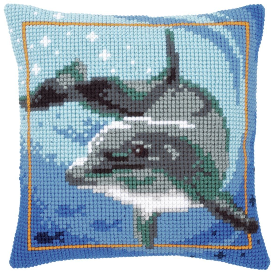 Vervaco delfin poduszka z haftem krzyżykowym, wielokolorowa
