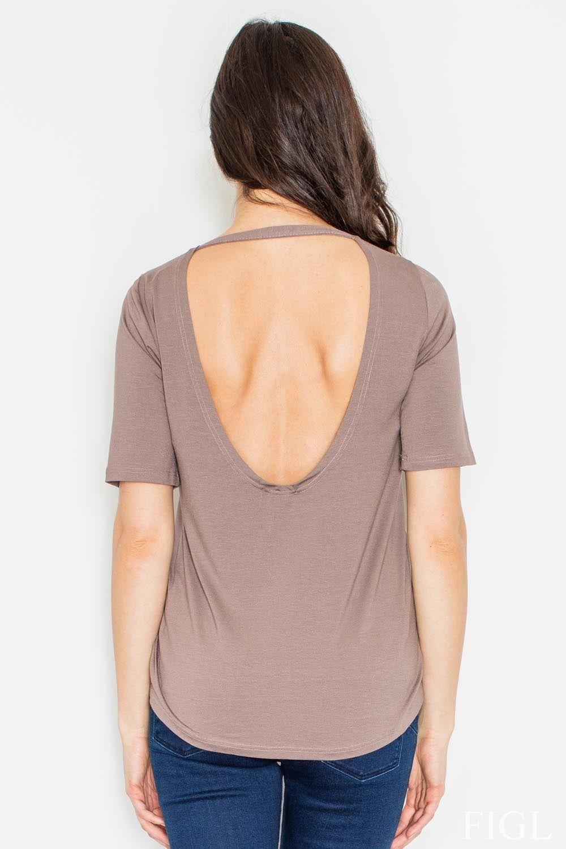 Brązowa bluzka z krótkim rękawem z wycięciem na plecach