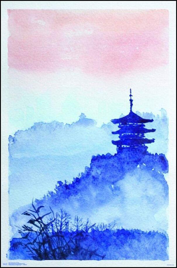 Japońska świątynia na wzgórzu - plakat