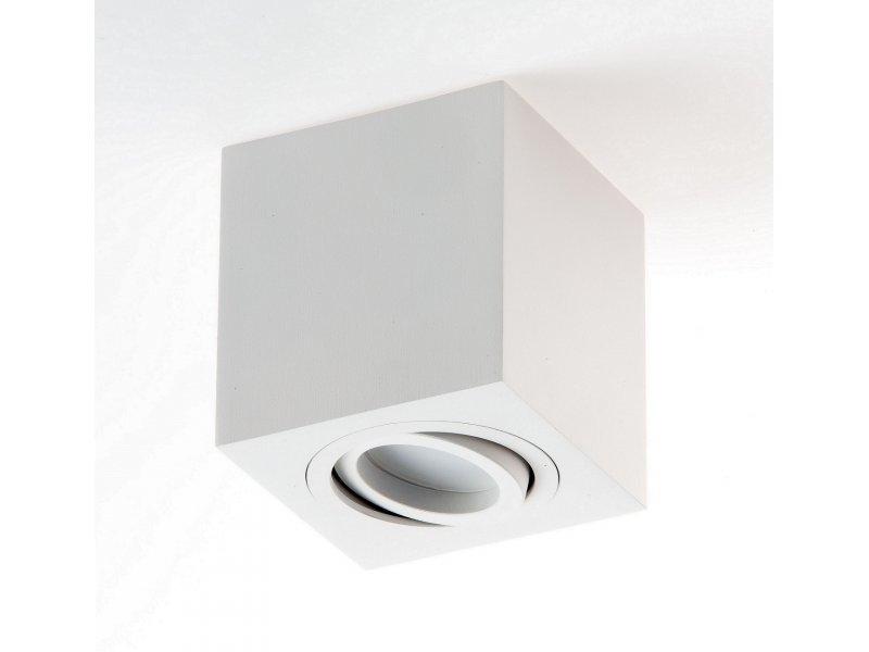 LM P 201 LAMPA SUFITOWA PLAFON KOSTKA NATYNKOWA ALUMINIUM BIAŁY PAR16 GU10 LED