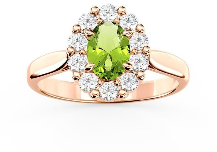 Pierścionek zaręczynowy z oliwinem i diamentami bp-57p