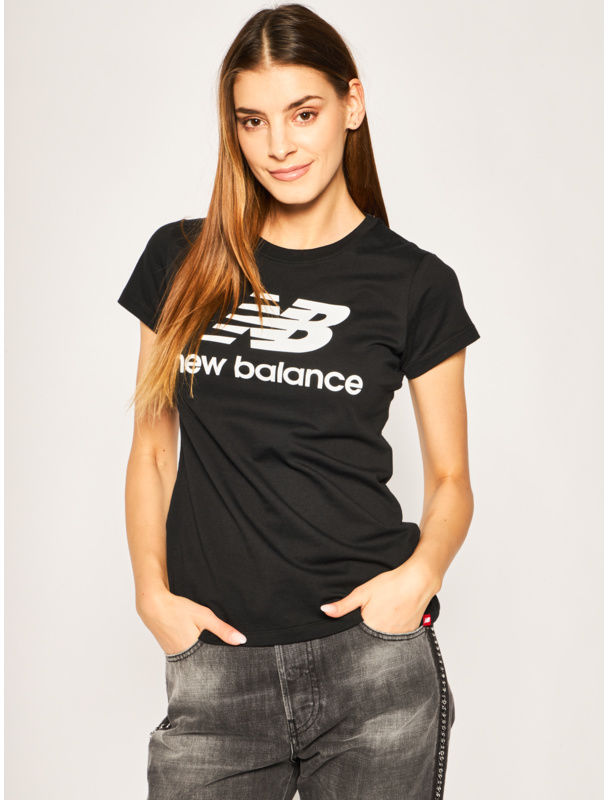 New Balance T-Shirt Essentials Stacked Logo Tee WT91546 Czarny Athletic Fit