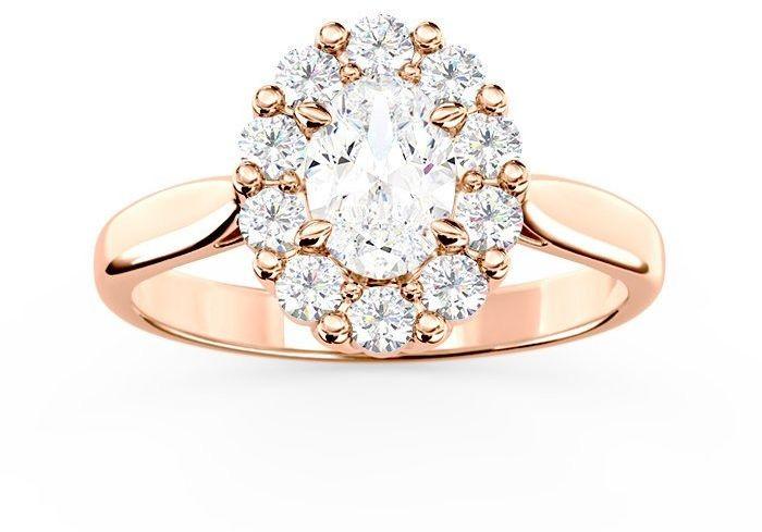Pierścionek zaręczynowy z białym topazem swarovski i diamentami bp-57p