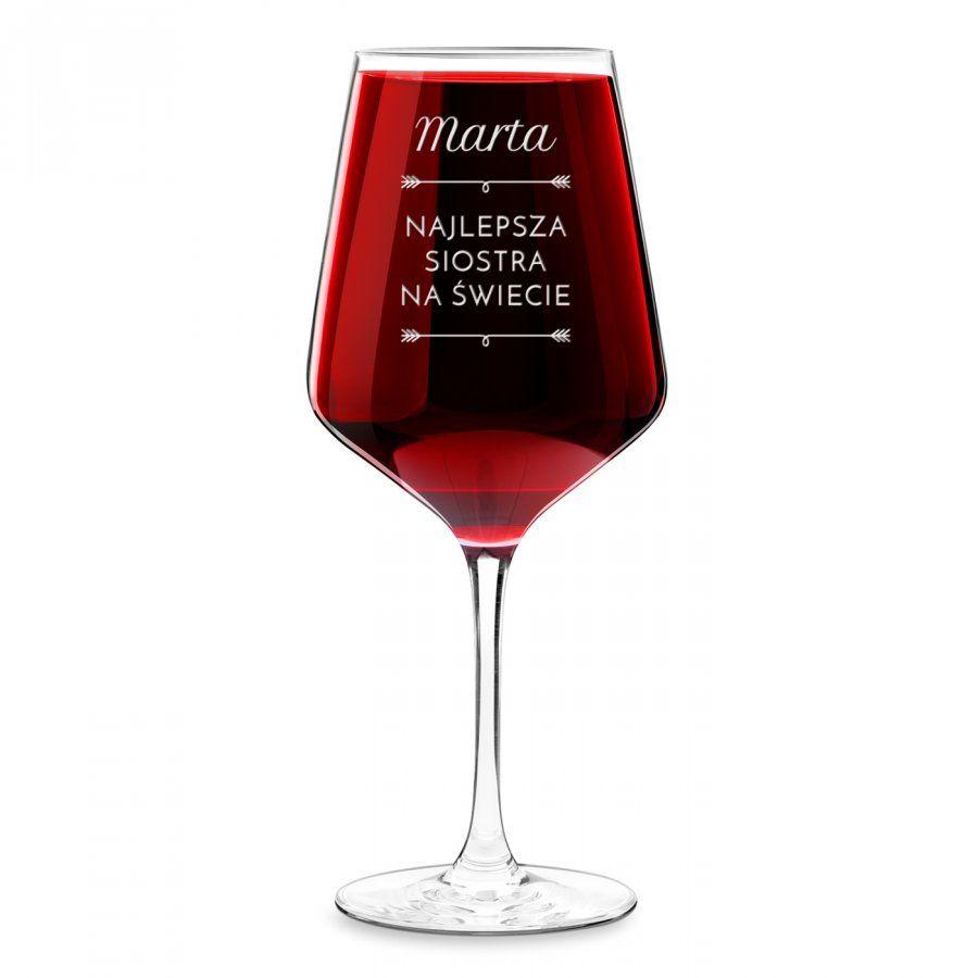Kieliszek grawerowany do wina rubin rozmiar XL dla siostry