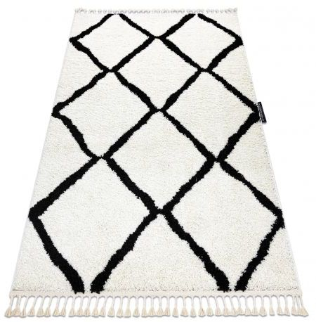 Dywan BERBER CROSS biały Frędzle berberyjski marokański shaggy 60x200 cm