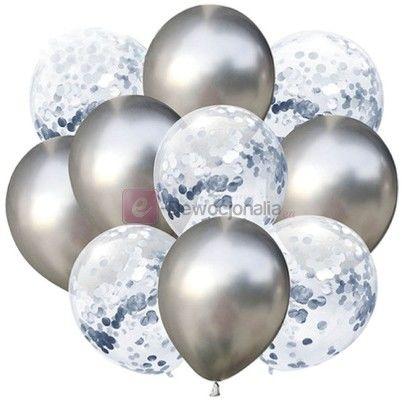 Zestaw balonów SILVER chrom z konfetti, 30cm-10szt