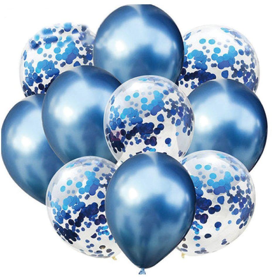 Zestaw balonów ROYAL BLUE chromowane z konfetti, 30cm-10szt