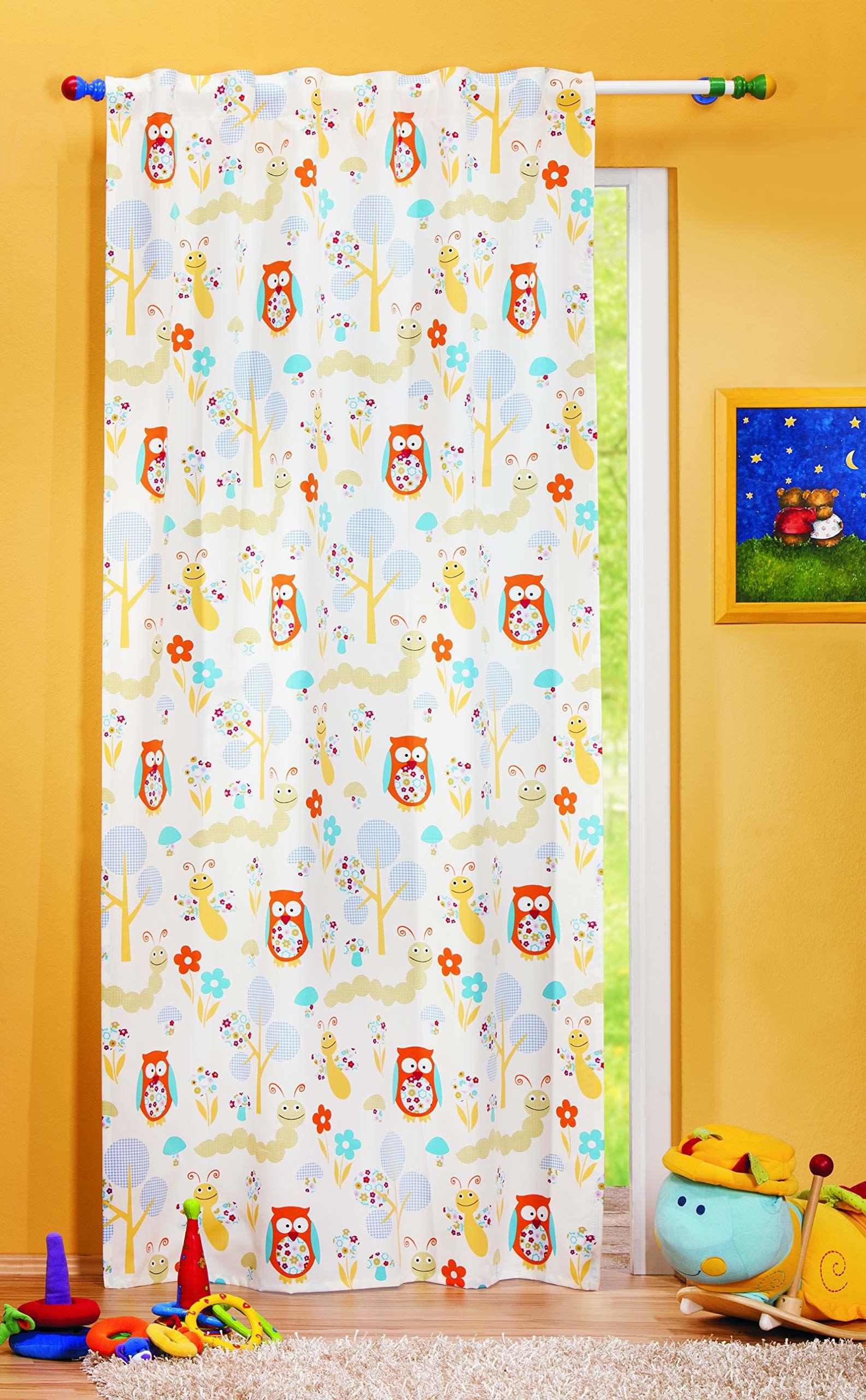 Albani Szal z różnymi szlufkami/gąsienica + sowa/245x135 cm, kolorowy