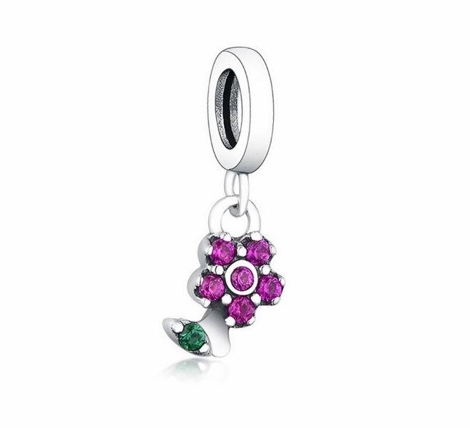 Rodowany srebrny wiszący charms do pandora little kwiatek flower srebro 925 NEW313