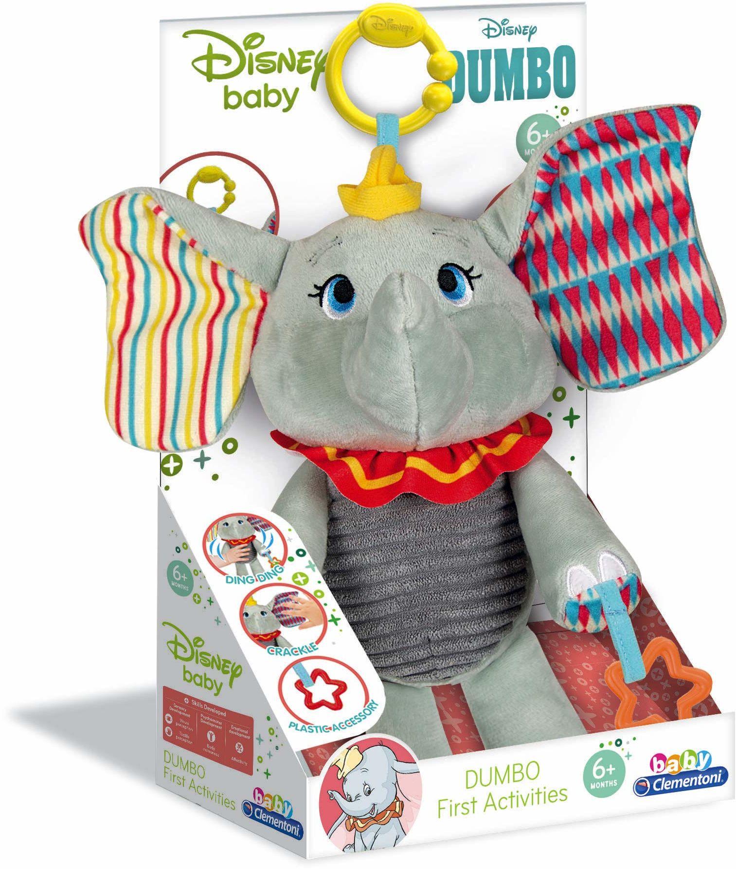 Clementoni 17297 Disney Baby  pluszowa zabawka do nauki, pluszowe zwierzątko do rozwoju sensoryki i zmysłu dotykowego, dla dzieci od 6 miesięcy