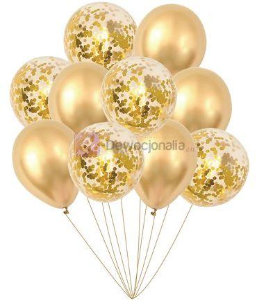 Zestaw balonów GOLD chrom z konfetti, 30cm-10szt